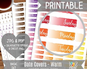 Date Covers Printable Planner Stickers, Erin Condren Planner Stickers, Date Covers Stickers, Red, Orange and Neutral Cover ups - CUT FILES