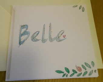 Belle hand-painted name card new baby