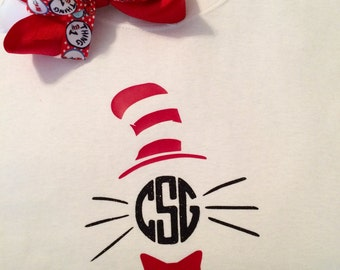 Dr Seuss, Cat in the Hat, Kids, Tshirt, Bow, Set