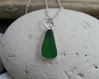 Green Seaglass Necklace, Silver Necklace, Seaglass Jewellery, Silver Jewelery, Boho Necklace