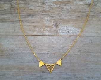 Triangles necklace, gold plated, hand made