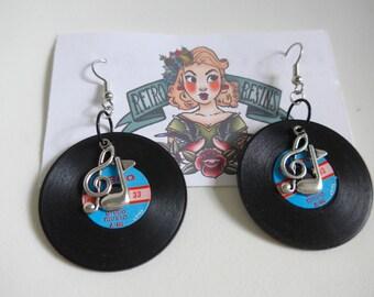 Rock n Roll earrings // Vintage Vinyl // Retro earrings