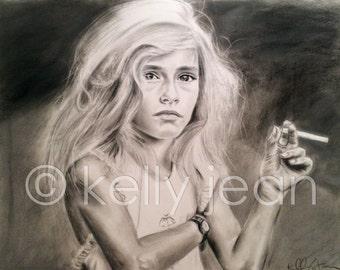 Candy Cigarette // Sally Mann 11x14 Drawing [PRINT]