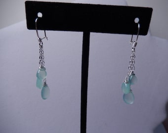Aqua Blue Chalcedony 3 Stone  Dangle Earrings