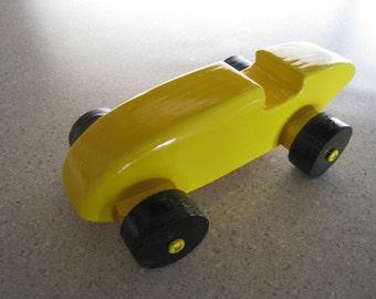 handmade wood yellow race car