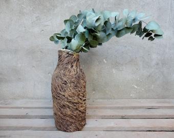 "Ceramic vase with texture of bark, collection ""autumn Salon"", bottle shape"
