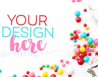 Spilled Gumballs Styled Desktop / Styled Stock Photography, Fun Candy Styled Mockup, Product Background Photo / Candy Mockup Photo