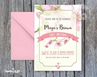 Bohemian birthday invitation printable, Printable Birthday invitation almond flowers, Floral birthday invitation