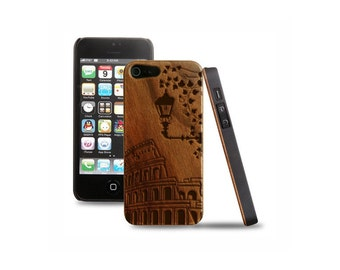 Wooden iPhone covers 5 5s engraving Rome engraving wooden case iphone Rome