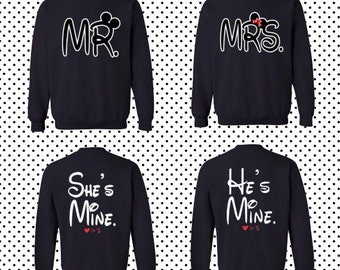 MR Mrs Front She's mine He's mine back couple sweaters matching sweaters