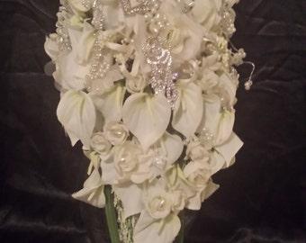Rhinestone & Silk Flower  Bouquet
