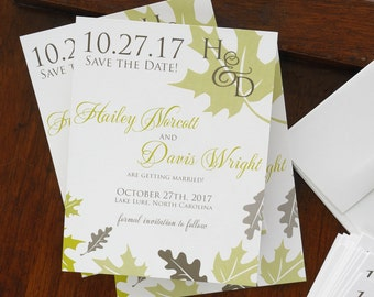 Fall Leaves Save The Date Cards - Cottage Chic Save The Date Announcements - Custom Digital Wedding Announcements - AA8008