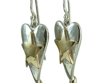 Mixed Metal Heart And Star Drop Earrings