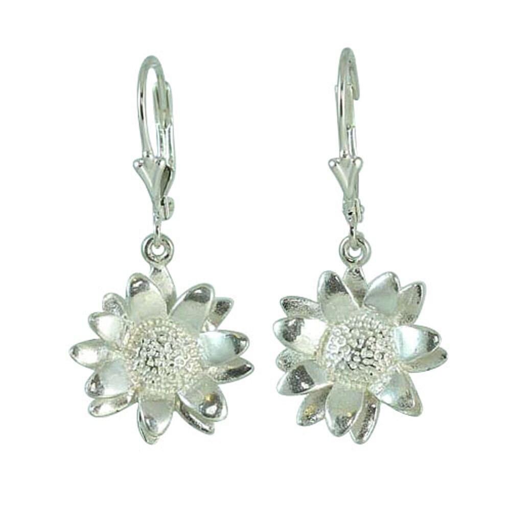 sterling silver sun flower drop earrings by clydekirton on