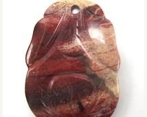 40% CLEARANCE 36x50mm poppy jasper carved pendant bead 1 pc 34388