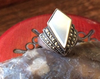 Mother of pearl ring marcasite vintage ring Deco ring size 6 ring