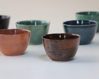 Stoneware Set of 6 cups. Ceramic cup in pink, blue, green. Tea cup Set. Tea service. Coffee cup. Handmade pottery.