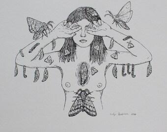 Moth girl - letterpress print