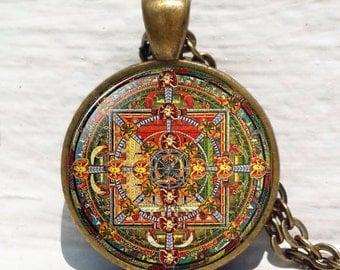 Buddhist Mandala pendant, Sacred geometry jewelry, Spiritual necklace, Buddhist mandala, Buddhist necklace, geometric necklace