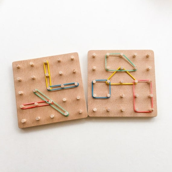 Toys For Young : Wooden geo board montessori inspired toddler toy