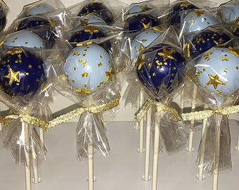 1 Dozen Star Themed Cake Pops with High Quality Ingredients. Cake Balls. Party Favors. Dessert Table. Baby Shower. Bridal Shower.