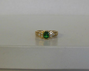 Vintage 14K Yellow Gold Emerald & Diamond Accent Ring