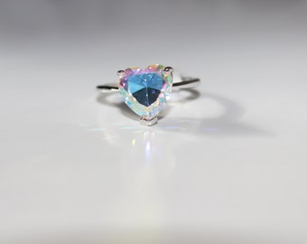Sterling Silver Rainbow Topaz Heart Solitaire Ring