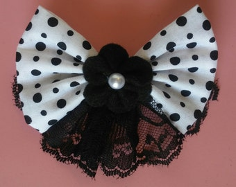 White & Black Polka Dot Lace Bow with Flower for Pet collar. Dog or Cat