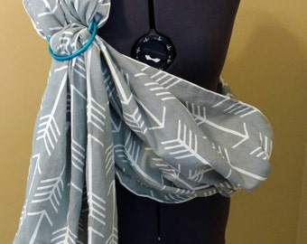 Baby Carrier Ring Sling-Grey and White Arrow Duck Cloth, Blue Rings