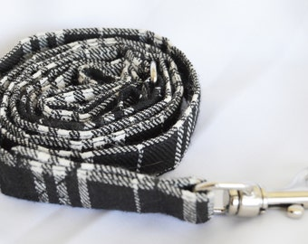 Black & White Tartan Fabric Leash