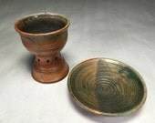 Handmade 8 fl. oz. ceramic chalice and matching plate