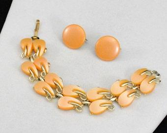 Gold Bracelet Earring Set, Peach Bracelet Set, Gold Toned Jewelry Set, Peach Earrings, Wedding Jewelry      J1258