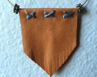 Tan Leather Fringe - Blue Stitch Necklace