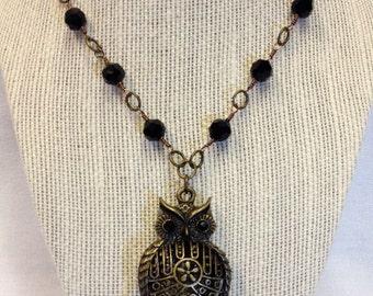 Antique Brass Owl Pendant Necklace