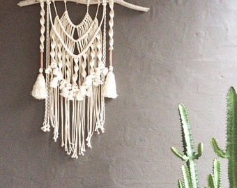 Macrame Wall Hanging || Natural Cotton + Copper on Driftwood with Tassels + Frilly Fringing || Boho Luxe, Nursery Art, Gypsy Decor