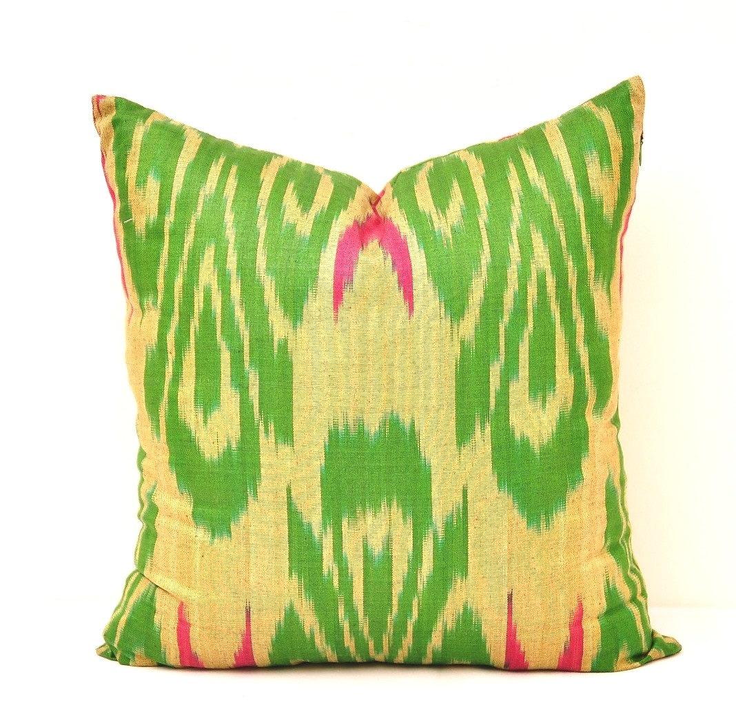 Green Ikat Throw Pillow : Green Throw Pillow Cover Green Ikat Pillow Cover Green