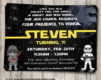 Star Wars Birthday Etsy - Star wars birthday invitation diy