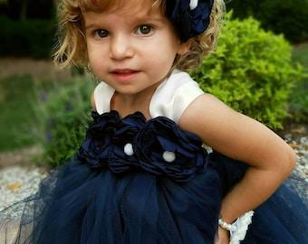 navy flower girl dress, tulle dress,flower girl tutu dress, tulle flower girl dress,rustic flower girl dress, vintage flower girl dress