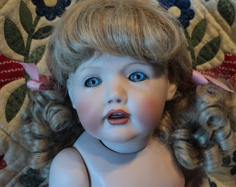 Hilda by JD Kestner all porcelain reproduction 17 inches undressed blonde curly hair in pig tails