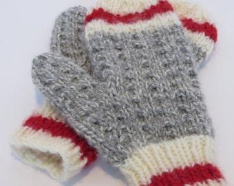 Hand Knit Children's WORK SOCK MITTENS / Handmade Mittens / Hand Knit Mittens / Children's Mittens / Work Sock Mittens (WorkSockMittKids)