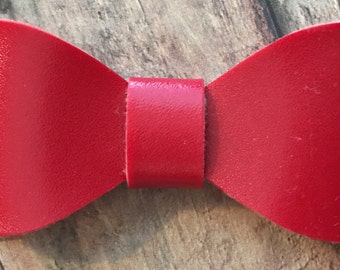 Red Faux Leather Bow on Shimmer Elastic Headband or Clip, Buy 3 Get 1 Free! Red Leather Hair Bow, Small Red Hair Bow