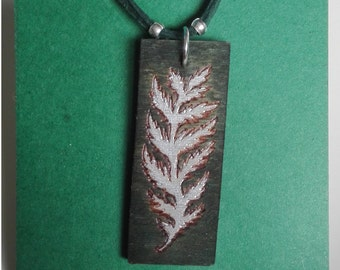 Little Fern - silver and green wooden pendant, pyrographed, painted