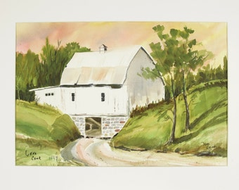 ORIGINAL painting, watercolor, barn, farm, rural life, gift art, 18x24/mounted 22x28