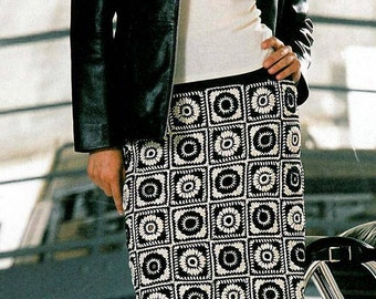 Skirt of black and white squares