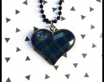 Tartan Heart Necklace ~ Scottish blue green tartan heart necklace