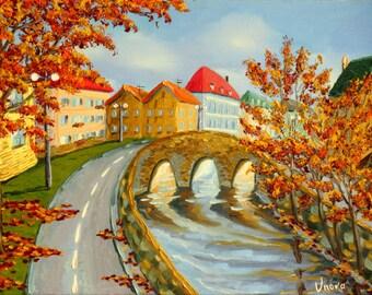 Original Oil Painting City Scape Autumn City Impasto Landscape
