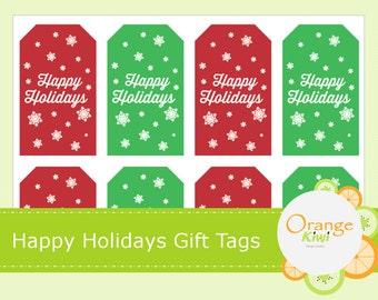 Happy Holidays Gift Tag Stickers - Holiday Gift Tags - Christmas Stickers