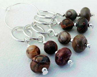 semi precious picasso jasper beads stitch markers - set of 5 knitting beaded stitch markers crochet markers