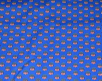 FOURTH of JULY FABRIC - By the Half Yard / For Quilting / Red White and Blue / Flags