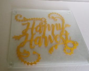 Happy Harvest Glass Cutting or Cheese Board